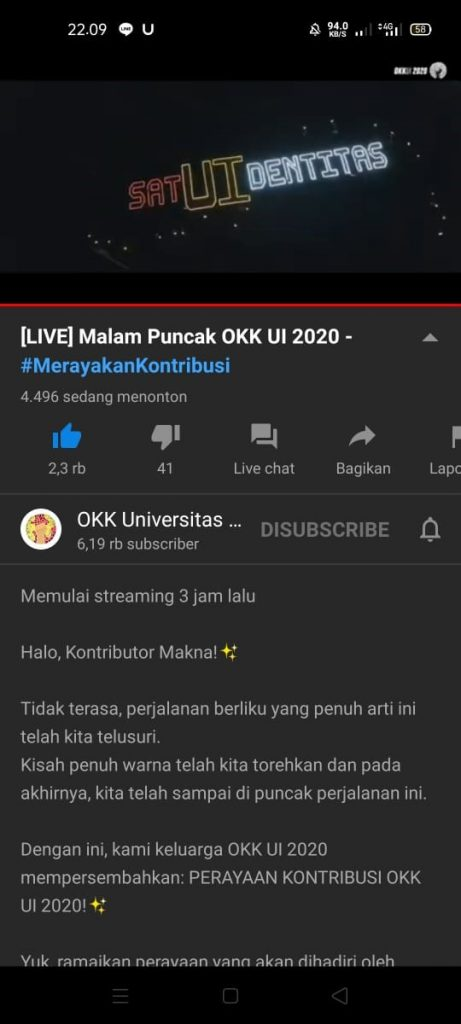Live Streaming OKK UI